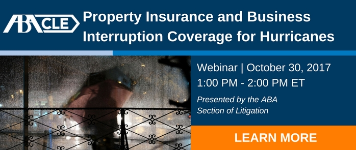 Property Insurance and Business Interruption Coverage for Hurricanes  (Webinar October 30)